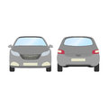 Car vector template on white background. Business hatchback isolated. grey hatchback flat style.front and back view