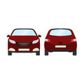 Car vector template on white background. Business hatchback isolated. red hatchback flat style.front and back view