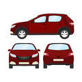 Car vector template on white background. Business hatchback isolated. red hatchback flat style. front side back view