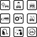 Car wash black icon set