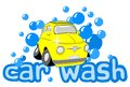 Car wash with bubbles and text Royalty Free Stock Photography