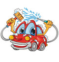 Car wash cartoon funny Royalty Free Stock Photography