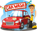 Car wash cartoon illustration
