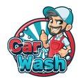Car Wash Cartoon Logo with Man using Car Wash Apron