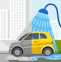 Car wash coloured illustrations dirty car clean car in town half grey half in the shower half of a yellow is half of the Royalty Free Stock Photo