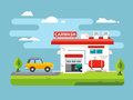 Car wash flat illustration Royalty Free Stock Photo