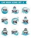 Car wash icons set