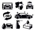 Car wash icons vector black set on white Stock Photo