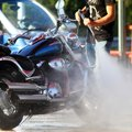 car wash for motorcycles Royalty Free Stock Photo