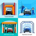 Car Wash Service 4 Flat Icons Royalty Free Stock Photo