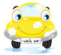 Car wash service - happy yellow automobile Royalty Free Stock Photo