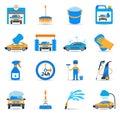 Car wash service icons set Royalty Free Stock Photo