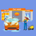 Car wash services, auto cleaning with water and soap Royalty Free Stock Photo