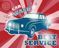 Car wash sign retro service Royalty Free Stock Photos