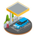 Car wash specialist in uniform washing sedan car under the roof. Spraying water from the hose. Flat 3d vector isometric