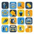 Car Wash Symbols Flat Icons Set Royalty Free Stock Photo