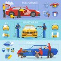 Car wash vector car-washing service with people cleaning auto or vehicle illustration set of car-wash and characters Royalty Free Stock Photo