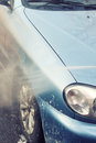 Car washing with high pressure water Royalty Free Stock Photo