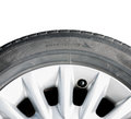 Car wheel isolated and tyre with rotation direction on white Royalty Free Stock Image