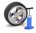 Car wheel and pump on white d service concept Stock Photo