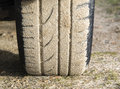 Car wheel stuck in sand Royalty Free Stock Photography