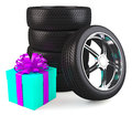 Car wheels with big gift box white background copyspace Stock Images