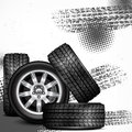 Car wheels and tire tracks grange on white vector illustration Royalty Free Stock Photo