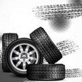 Car wheels and tire tracks Royalty Free Stock Photo