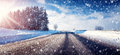 Car on winter road Royalty Free Stock Photo