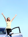 Car woman happy freedom Royalty Free Stock Photo