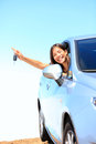 Car woman showing keys Stock Image