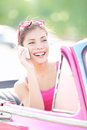 Car woman talking on phone on vacation road trip Royalty Free Stock Photo