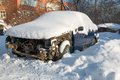 Car is worth in the snow broken and shattered Royalty Free Stock Images