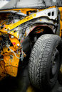 Car wreck yellow taxi detail Royalty Free Stock Image