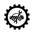 Car with wrench mechanic tool icon