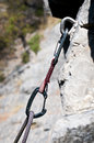 CARABINER AND CLIMBING ROPE Stock Photos
