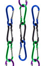 Carabiner designed to be strong connecting link used joining material ropes hardware slings etc together to create life safety Stock Images