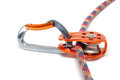 Carabiner with pulley on the rope Royalty Free Stock Photo