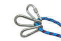 Carabiner and rope isolated climbing equipment Stock Photo