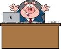 Caractère de pig cartoon mascot d homme d affaires derrière le bureau Photographie stock