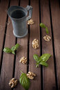 Carafe and walnuts Royalty Free Stock Photos