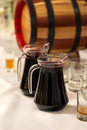 Carafe with wine two filled red Stock Photography