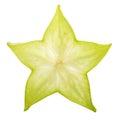 Carambola starfruit isolated on white background Royalty Free Stock Photo