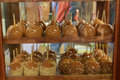 Caramel Apples on Candy Shop Shelves Royalty Free Stock Photo
