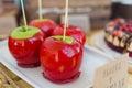 Caramel apples decor on table closeup Stock Images