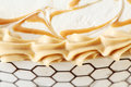 Caramel and cream decorations at cake Royalty Free Stock Images