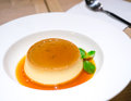 Caramel custard sweet dessert with syrup Stock Photo