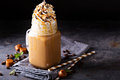 Caramel iced latte with whipped cream Royalty Free Stock Photo