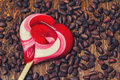 Caramel lollipop heart Royalty Free Stock Photo