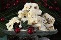Caramelo de chocolate tradicional dos confeitos do white christmas do feriado do natal Fotos de Stock Royalty Free